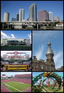 No sentido horário: a Baía de Tampa e o centro da cidade; a imponente Universidade de Tampa; uma montanha-russa do Busch Gardens; jogo de futebol americano no Raymond James Stadium; Ybor City, a capital cubana da Flórida; e a fachada grandiosa do Tampa Bay Times Forum
